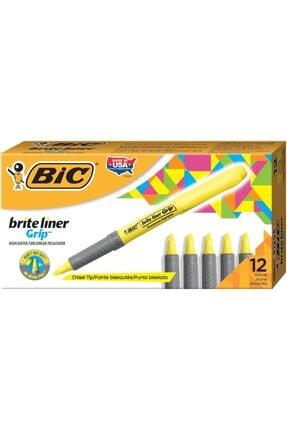 Bic Brite Liner Grip Fosforlu Kalem Sarı 811935 (1 Paket 12 Adet)