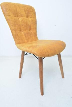 Mobildeco Ahşap Ayaklı Mutfak Sandalyesi Papel Sırtlı Sarı