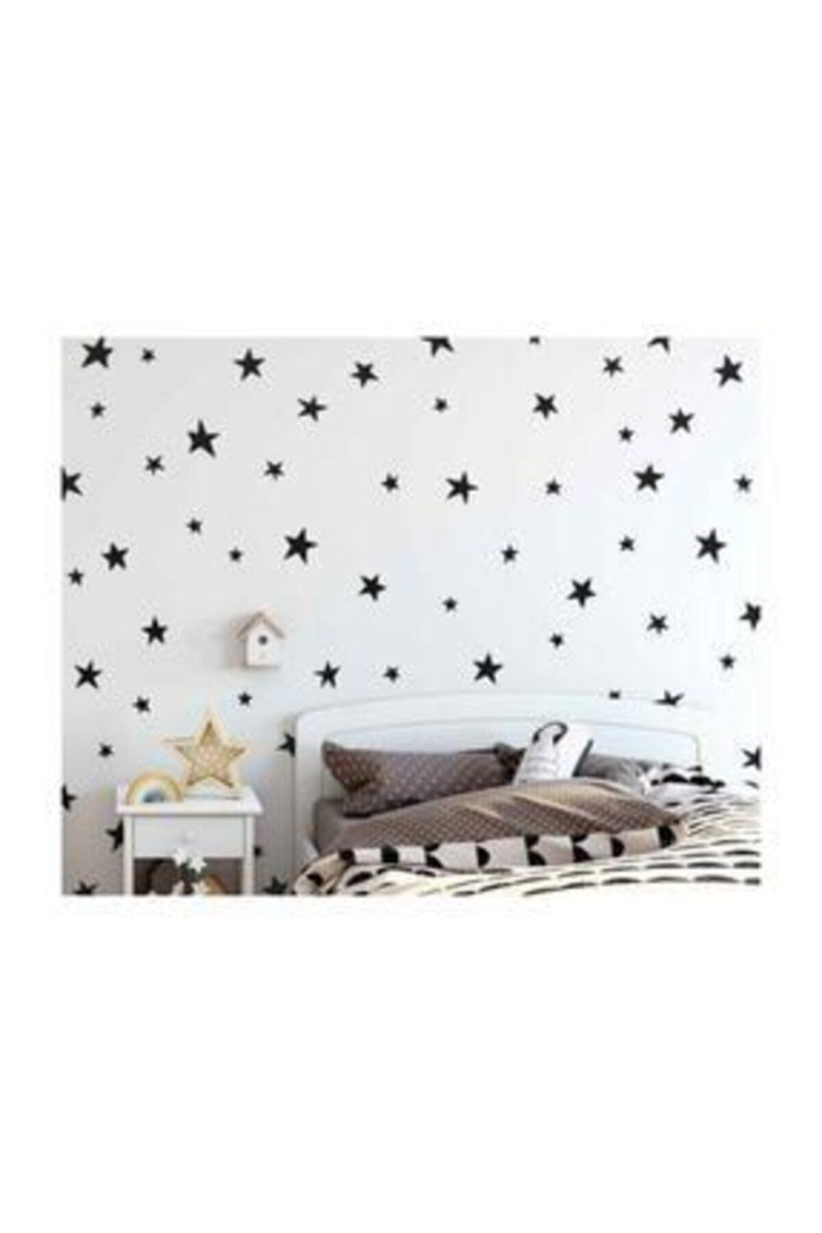 Oracal 129 Adetlik Yıldız Yağmuru Sticker, Siyah Renk, Çocuk Odası Sticker, Dekorasyon 1