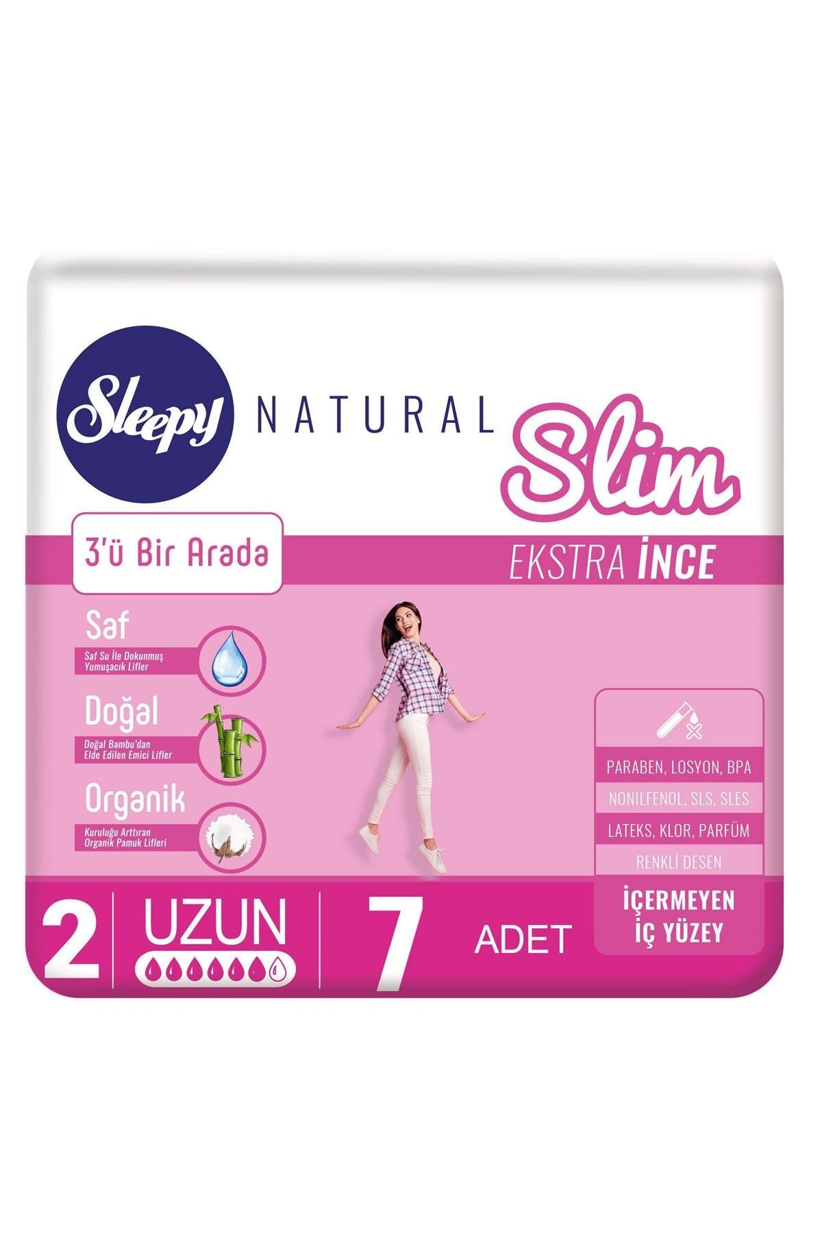 Sleepy Natural Slim Ekstra İnce Uzun 7 Ped