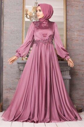 New Elegans Kadın Pembe Tesettür Abiye