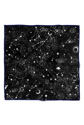 Modabutik Kadın Yıldız Desenli Bandana 50x50 Siyah Beyaz Dg0442-22 Snz