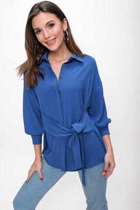 By Saygı Kadın Koyu Mavi Önü Bağlamalı Krep Tunik Gömlek