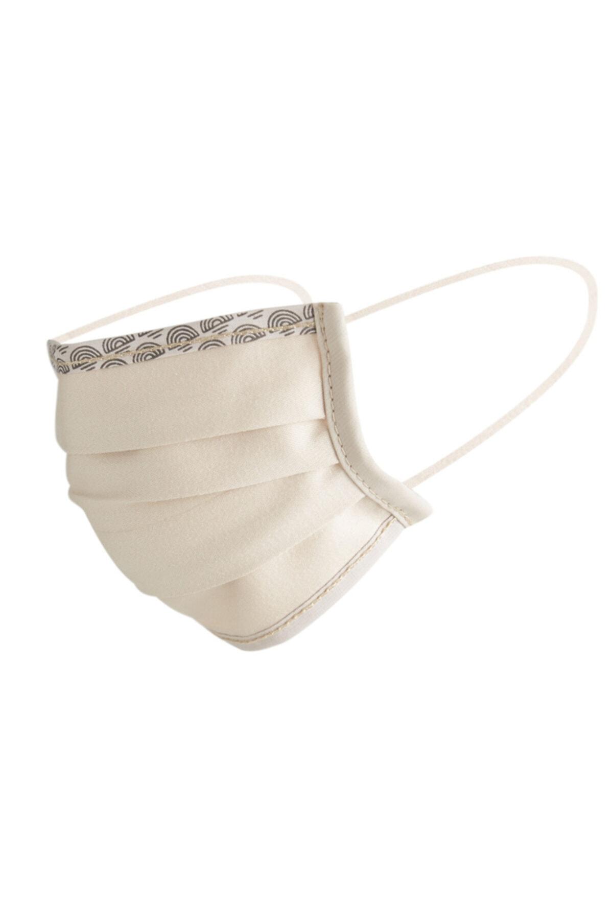 Maisonette Bej Yıkanabilir Pamuklu Yüz Maskesi 5 Li Paket 1
