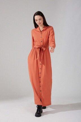 Mizalle Kadın Önden Düğmeli Kupra Elbise (somon)