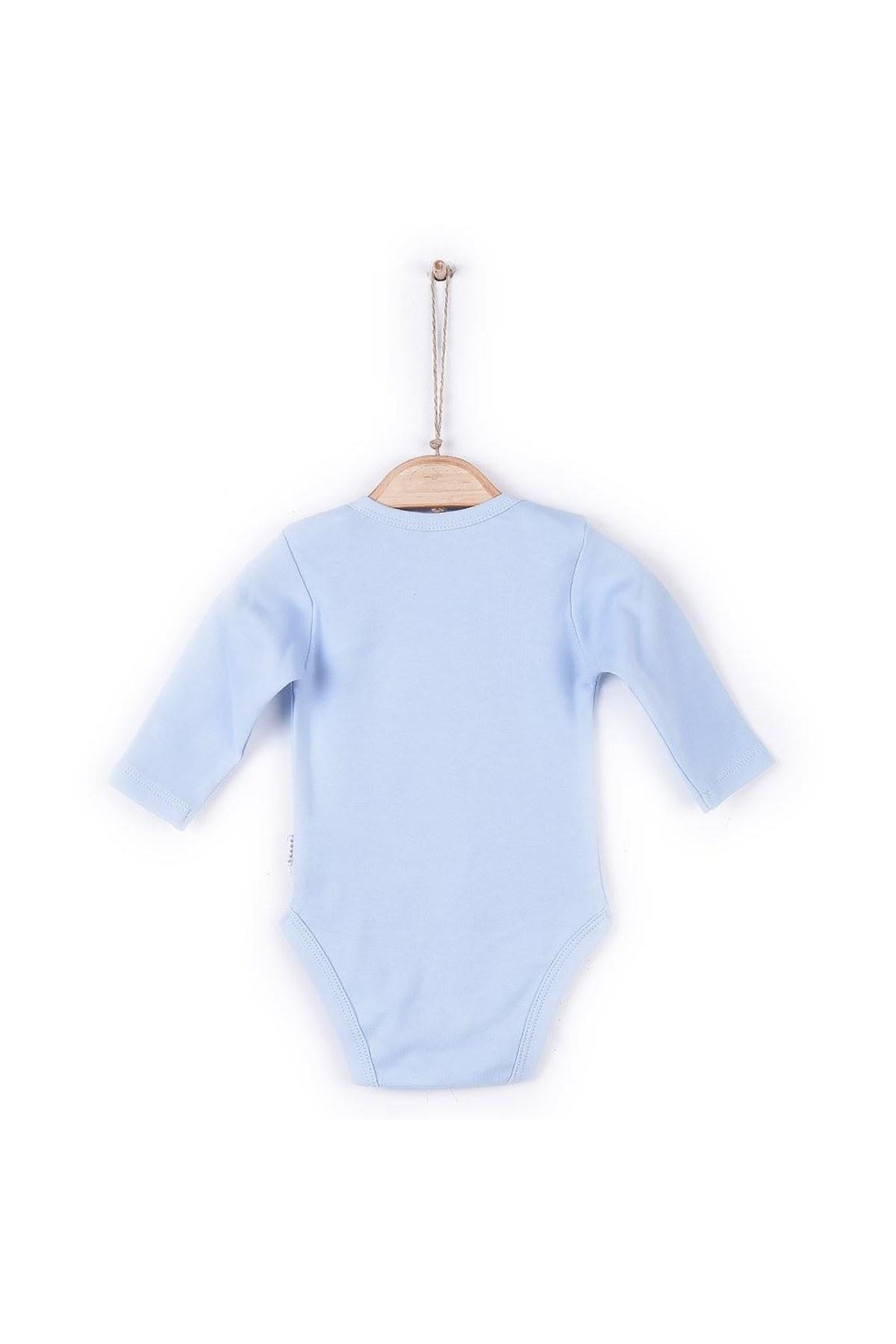 kitikate Unisex Bebek Mavi Organik Uzun Kol Amerikan Yaka Body 57195 2