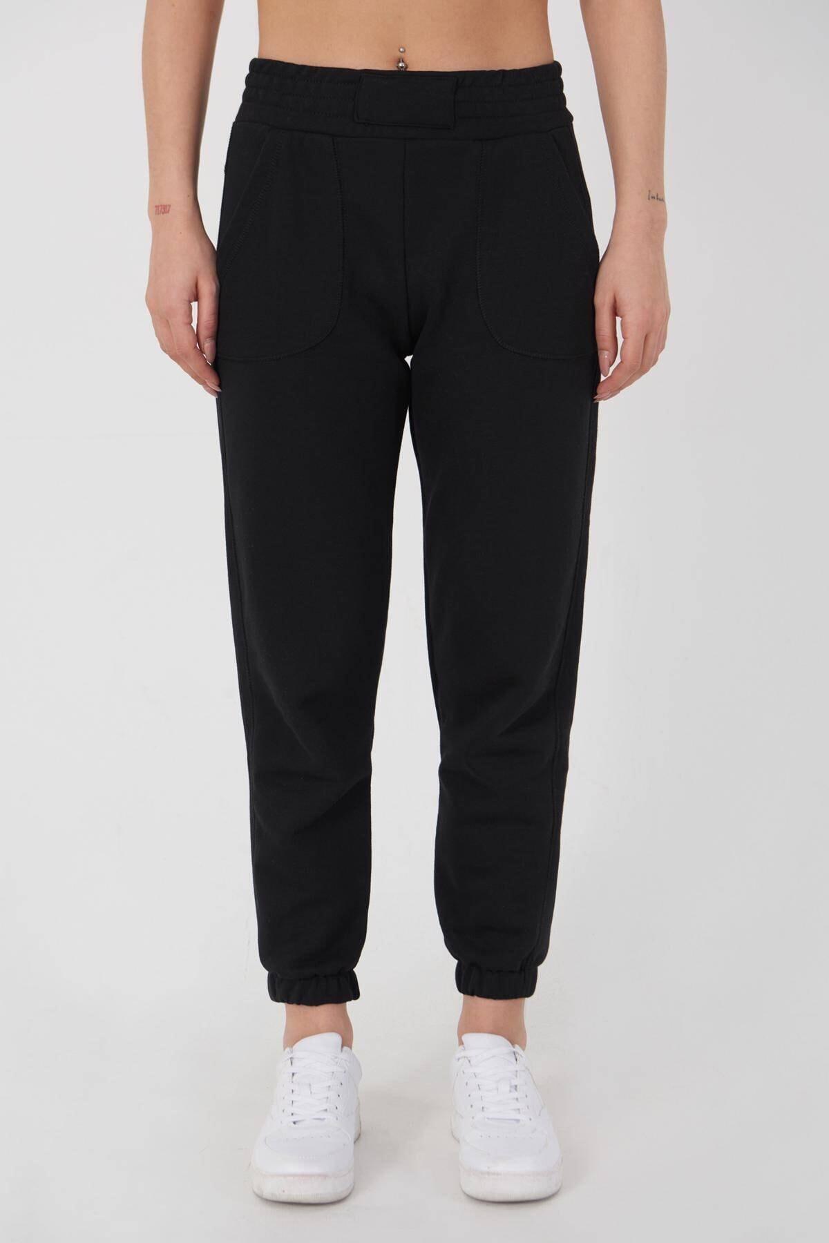 Addax Kadın Siyah Cep Detaylı Eşofman EŞF9498 - L10 ADX-0000023267