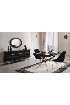 Yıldız Mobilya Clara Siyah Gold Yemek Odası