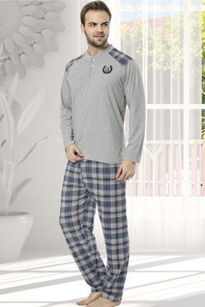 CNG MODA Erkek Ekose Desenli Patlı Gri Pijama Takımı