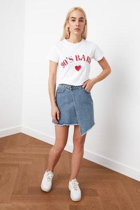 TRENDYOLMİLLA Ekru Baskılı Basic Örme T-shirt TWOSS19VG0155
