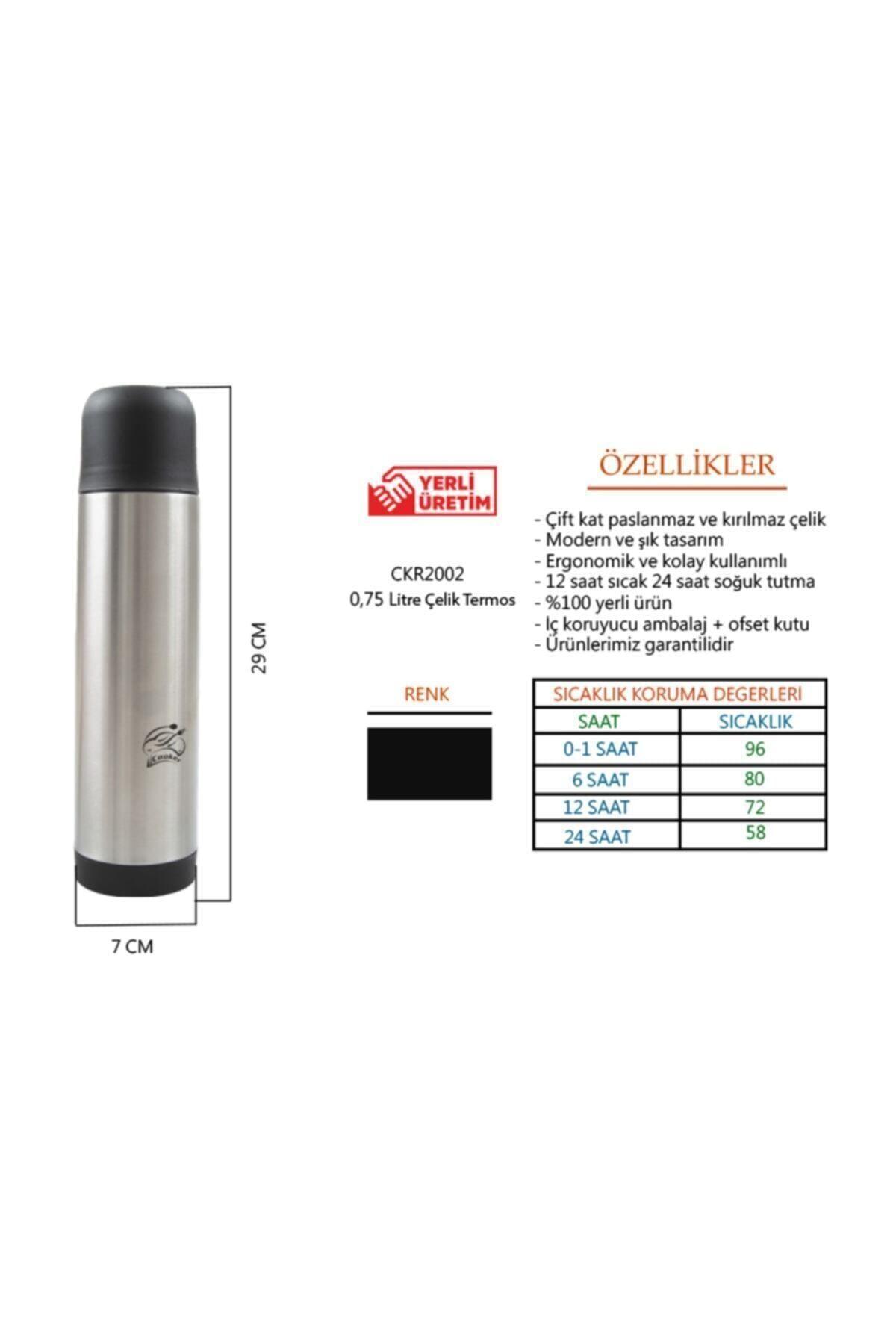 Cooker Paslanmaz Çelik Termos 750 ml - Ckr2002 2