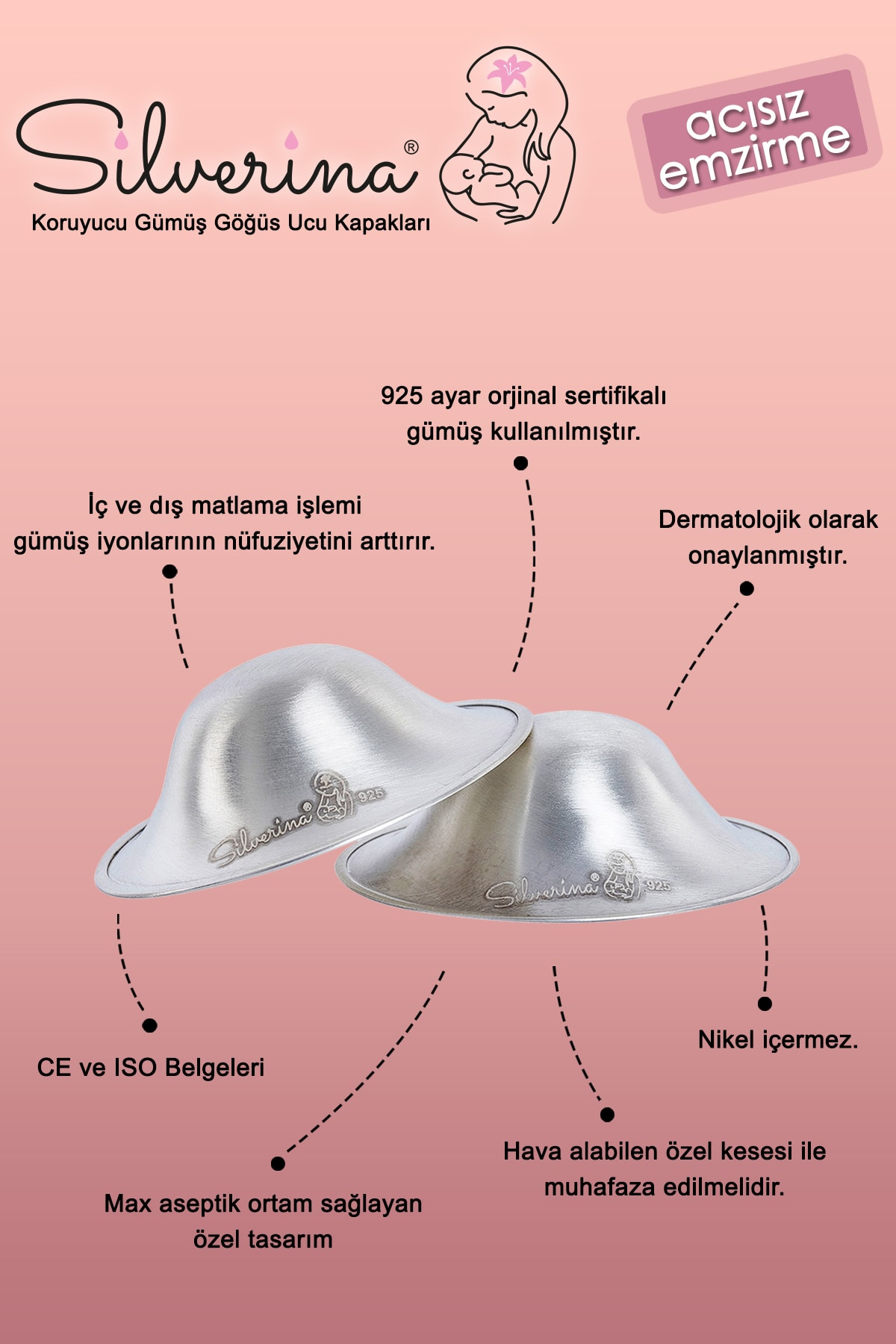 Silverina Xl Gümüş Göğüs Ucu Kapakları 2