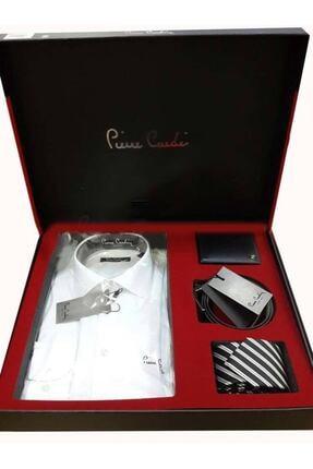 Pierre Cardin 4'lü Gömlek Kemer Cüzdan Kravat Damat Seti 03