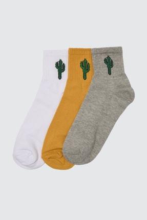 TRENDYOL MAN Çok Renkli Erkek 3'lü Paket Kaktüs Baskılı Patik Çorap TMNSS20CO0013