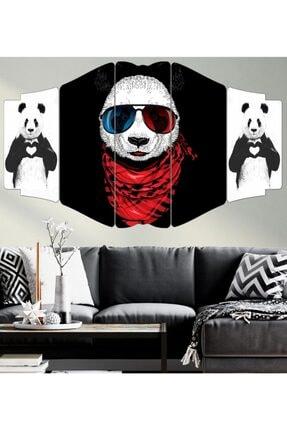 hanhomeart Yavru Panda-5 Parça Mdf Tablo Seti