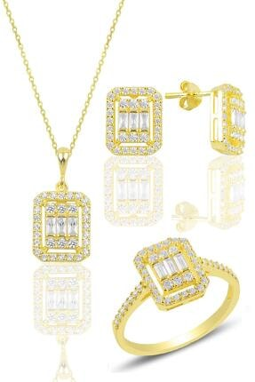 Söğütlü Silver Gümüş Altın Yaldızlı Gümüş Baget Taşlı Üçlü Set