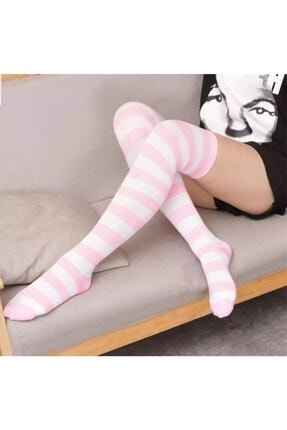 Cindiy Pembe Beyaz Diz Üstü Çorap
