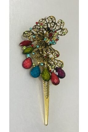 Mima Kadın Taşlı Tavuskuşu Otantik Metal Çok Renkli Toka