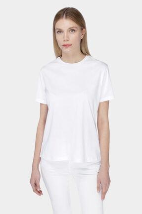 W Collection Beyaz Slogan Nakışlı Oversızed T-shırt