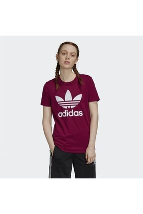 adidas Kadın Bordo Trefoil Tişört