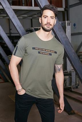 Sateen Men Erkek Haki Yazı Baskılı T-Shirt