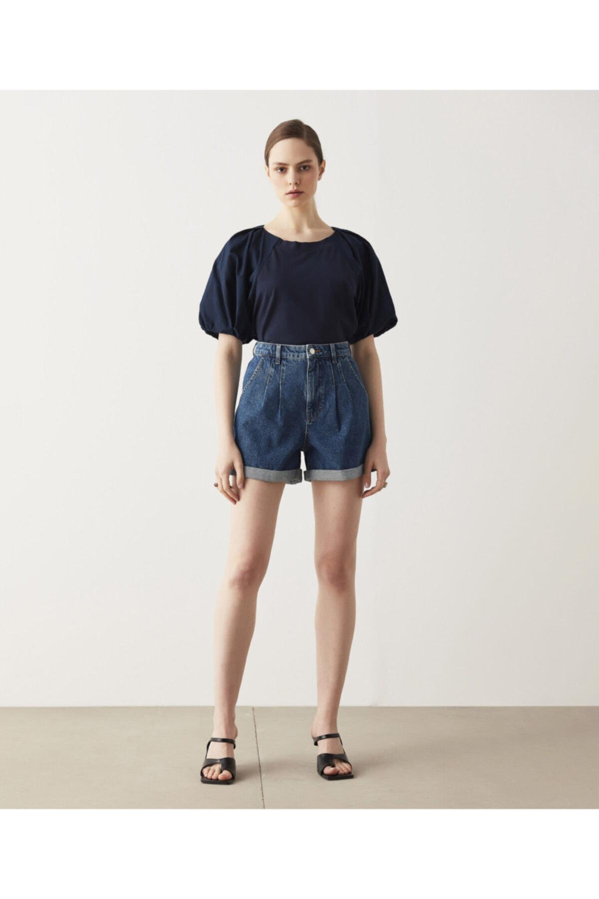 İpekyol Kadın Lacivert Balon Kol T-Shirt 2