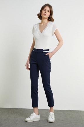 Network Kadın Slim Fit Lacivert Bant Detaylı Pantolon 1079117