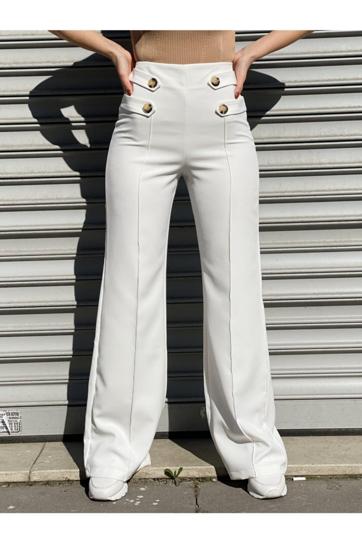 Ekocbutik Kadın Beyaz Düğmeli Kumaş Pantolonu 1