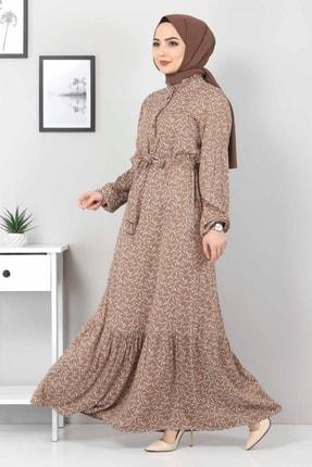 Tesettür Dünyası Yaprak Desenli Tesettür Elbise