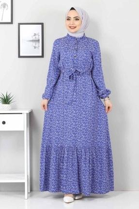 Tesettür Dünyası Kadın Mavi Yaprak Desenli Tesettür Elbise Tsd7124