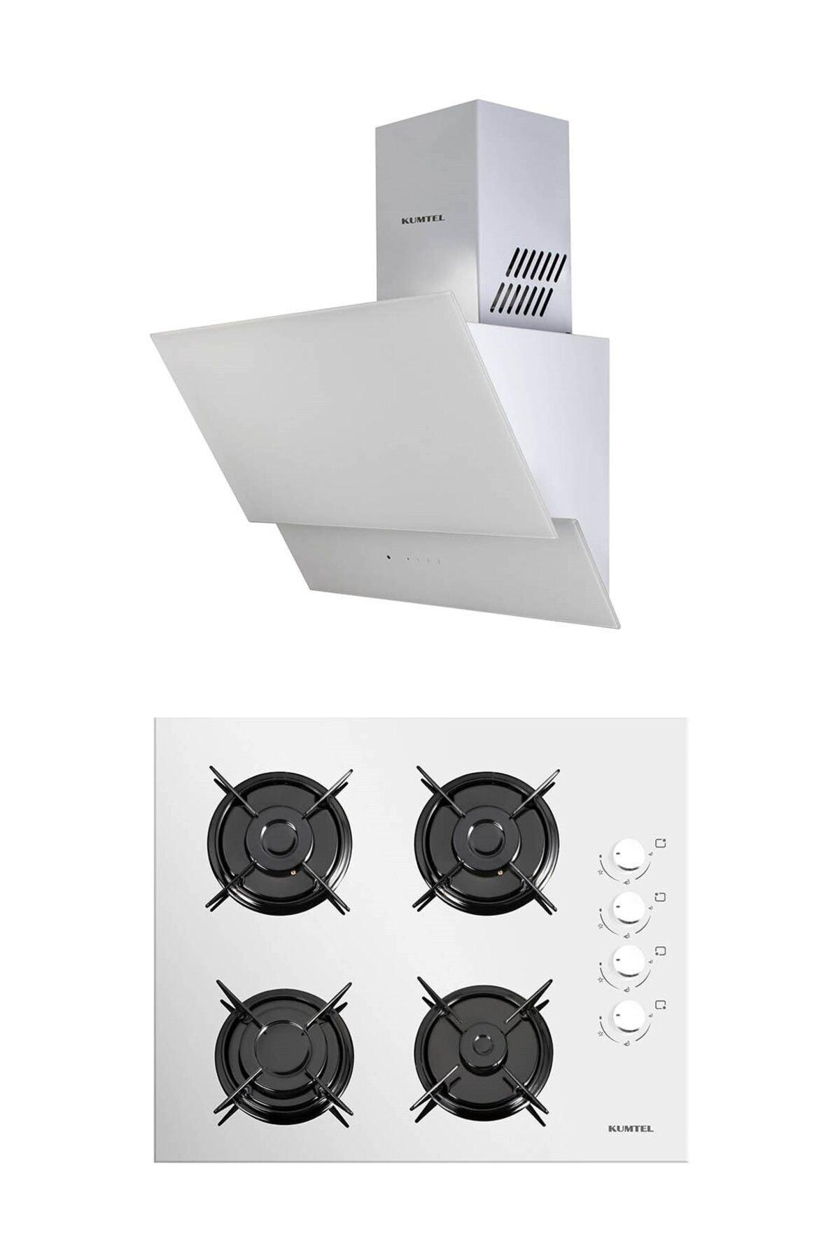 KUMTEL Beyaz 2'li Ankastre Cam Set (Ocak-Dokunmatik Davlumbaz) 1
