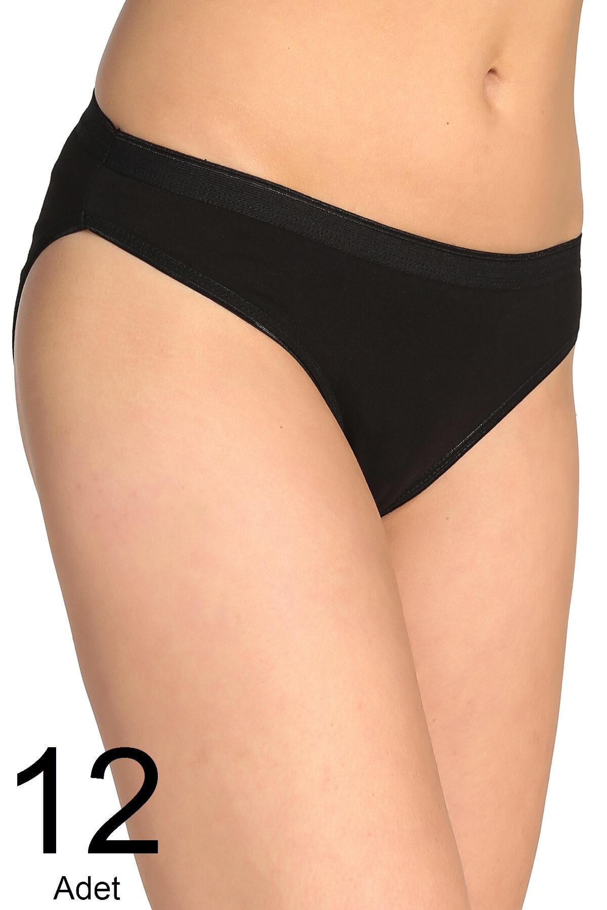 Tutku Kadın Siyah 12'li Paket  Bikini Külot ELF568T0635CCM12 1