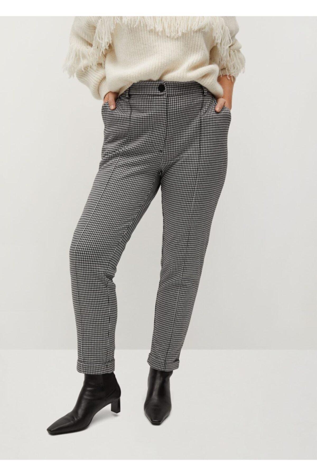 Violeta by MANGO Kadın Siyah Kazayağı Desenli Pantolon 1