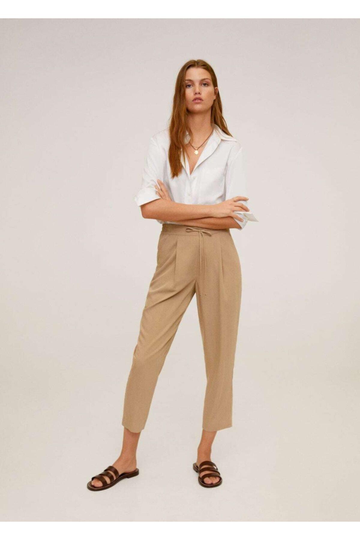 MANGO Woman Kadın Orta Kahverengi Bağcıklı Takım Pantolon 67056705 2