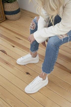 STRASWANS Kadın Beyaz Deri Spor Ayakkabı