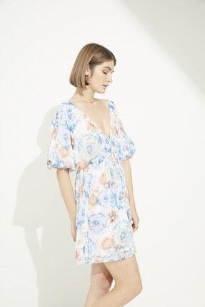 adL Kadın Emp.Coral V Yaka Büzgülü Mini Şifon Elbise