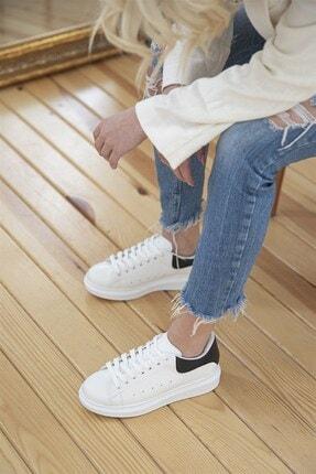 STRASWANS Kadın Deri Spor Ayakkabı Beyaz-siyah