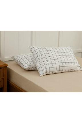 English Home Plain Check Kombin Pamuklu 2'li Yastık Kılıfı 50x70 Cm Beyaz