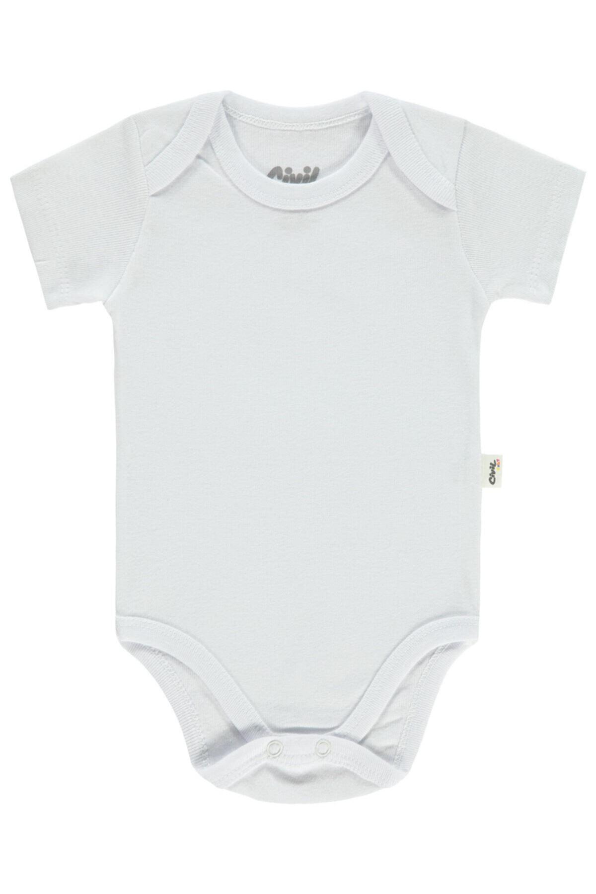 Civil Baby Bebek Çıtçıtlı Badi 0-24 Ay Beyaz 1