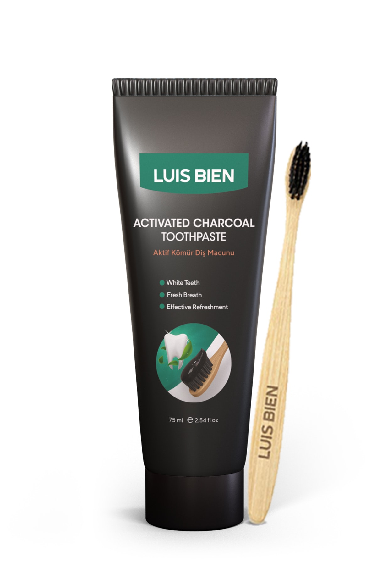 Luis Bien Aktif Karbon Diş Temizleme Macunu 75 Ml + Bambu Diş Fırçası Set 1