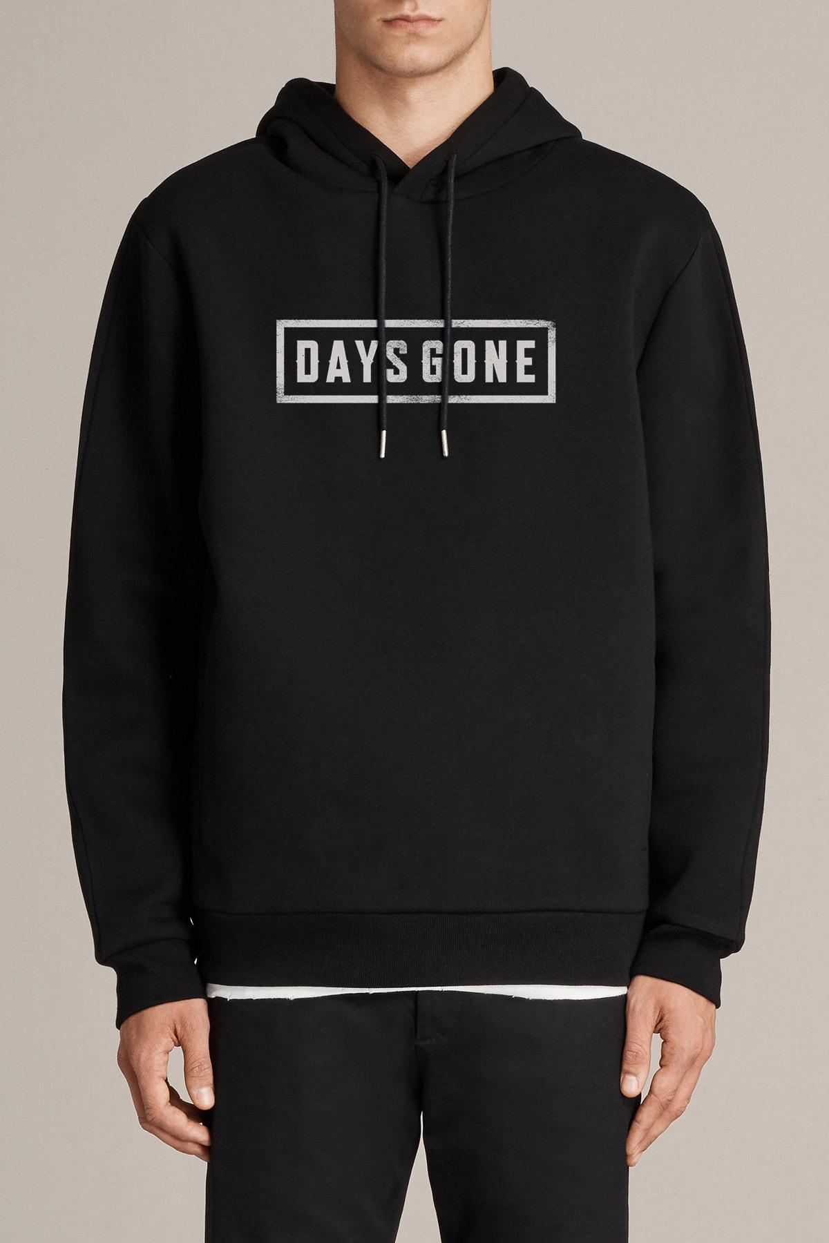 QIVI Erkek  Days Gone Logo Baskılı Siyah Örme Kapşonlu Sweatshirt Uzun Kol 1