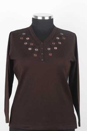 perla triko Kadın Kahverengi Triko Bluz