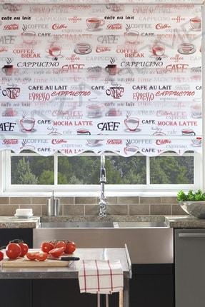 Naza Zebra Stor Perde Cappuccino Kırmızı Mutfak Perdesi 70 X 260 Cm Etekli Perde