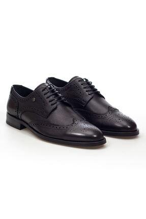 MARCOMEN Siyah Lazer Detaylı Hakiki Deri Bağcıklı Erkek Klasik Ayakkabı • A20eymcm0024