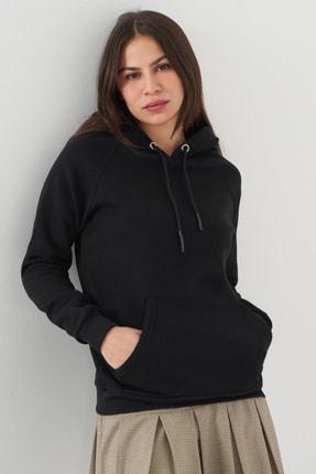 Addax Kadın Siyah Cep Detaylı Sweatshirt S7066-1 - B11 - B12 ADX-0000019965