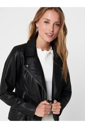 Only Melisa Faux Leather Biker Cc Otw Kadın Siyah Mont 15205625-02