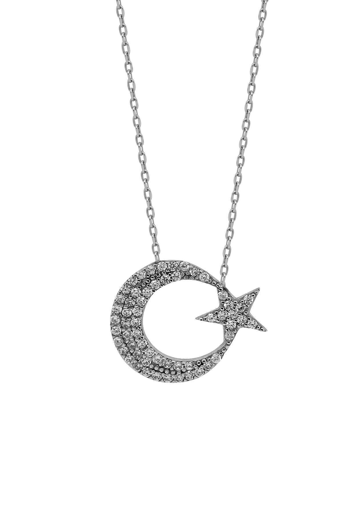 Hyde Park Hydepark Gümüş Taşlı Ay Yıldız Kolye 44k2kly0222002319 1