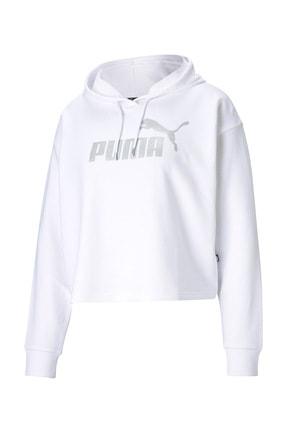 Puma Kadın Essential Metalik Logo Sweatshirt-beyaz