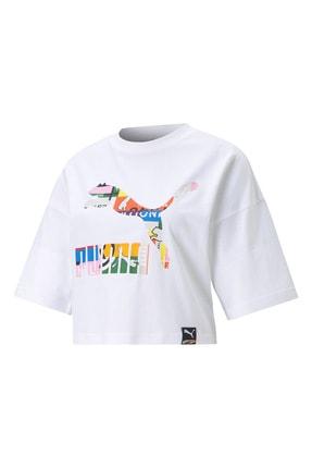 Puma Kadın Pı Graphic Multi  Tshirt -beyaz