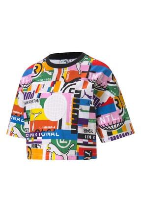 Puma Renkli Baskılı Kadın Crop Tişört - Renkli